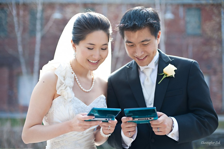 Christopher Luk Weddings 2011 - Assunta and Richard - Timothy Eaton Memorial Church - Bride and Groom Candid Nintendo DS
