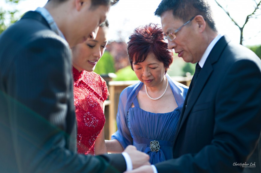 Christopher Luk Wedding - Saturday, May 21, 2011 - Stephanie Kwan and Ricky Chan - Richmond Hill Christian Community Church and The Manor Event Venue in Kettleby - Prayer - Praying - Bride and Groom with Mom and Dad