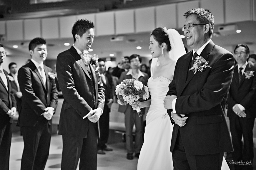 Christopher Luk Wedding - Saturday, May 21, 2011 - Stephanie Kwan and Ricky Chan - Richmond Hill Christian Community Church and The Manor Event Venue in Kettleby - Groom During Ceremony - Bride and Dad Walking Down the Aisle