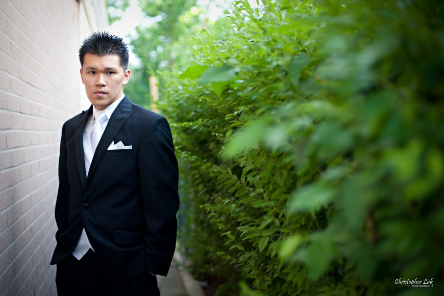 Christopher Luk 2011 - Jenny and James' Wedding - Trinity Presbyterian Church York Mills, Evergreen Brick Works, Renaissance by the Creek Toronto Mississauga - Groom Creative Portrait
