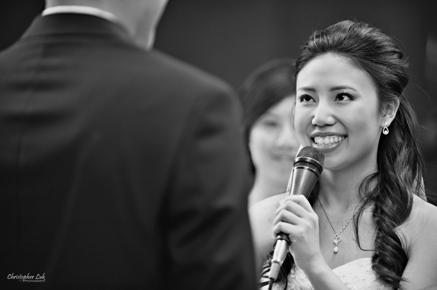 Christopher Luk 2011 - Jenny and James' Wedding - Trinity Presbyterian Church York Mills, Evergreen Brick Works, Renaissance by the Creek Toronto Mississauga - Bride Vows Smiling Candid