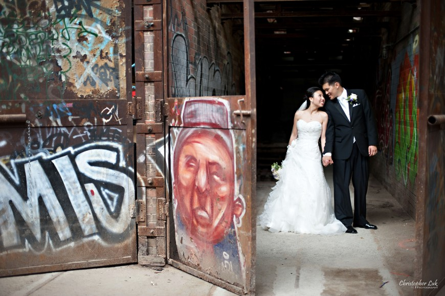 Christopher Luk 2011 - Jenny and James' Wedding - Trinity Presbyterian Church York Mills, Evergreen Brick Works, Renaissance by the Creek Toronto Mississauga - Bride and Groom Creative Relaxed Portrait Session