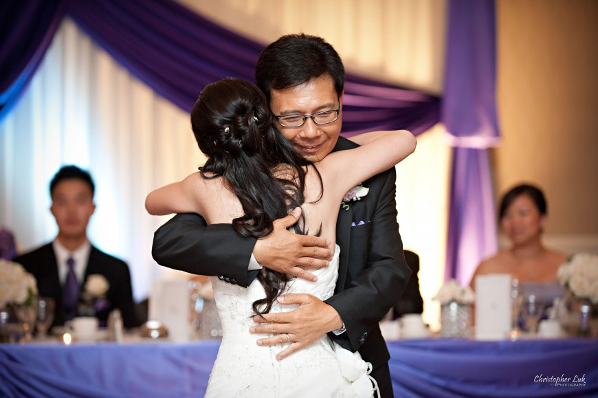 Christopher Luk 2011 - Jenny and James' Wedding - Trinity Presbyterian Church York Mills, Evergreen Brick Works, Renaissance by the Creek Toronto Mississauga - Dinner Reception Father Daughter Bride Dance Hug