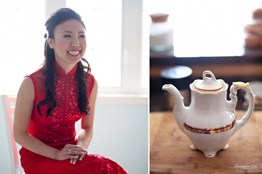 Christopher Luk 2011 - Jenny and James' Wedding - Trinity Presbyterian Church York Mills, Evergreen Brick Works, Renaissance by the Creek Toronto Mississauga - Bride Smiling Chinese Tea Ceremony Tea Pot