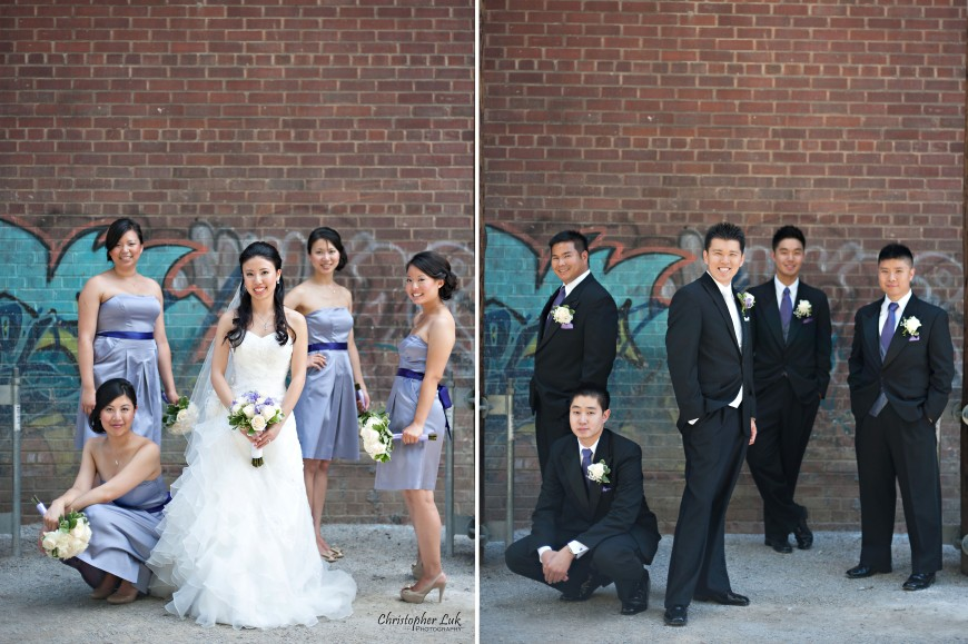 Christopher Luk 2011 - Jenny and James' Wedding - Trinity Presbyterian Church York Mills, Evergreen Brick Works, Renaissance by the Creek Toronto Mississauga - Bride Bridesmaids Groom Groomsmen Bridal Party Flowers
