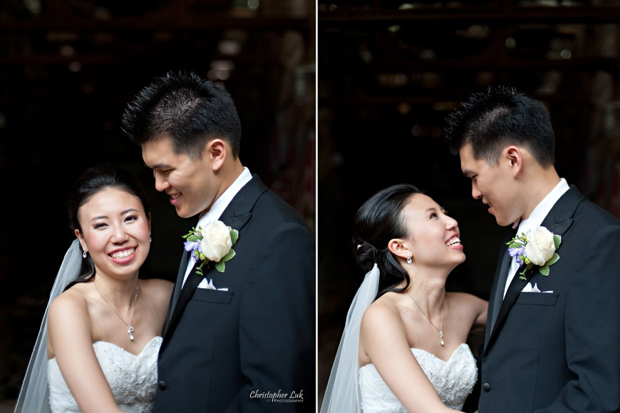 Christopher Luk 2011 - Jenny and James' Wedding - Trinity Presbyterian Church York Mills, Evergreen Brick Works, Renaissance by the Creek Toronto Mississauga - Bride and Groom Creative Relaxed Portraits Session Laughing Smiling