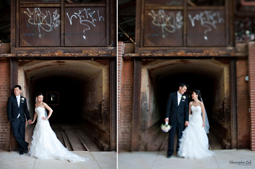 Christopher Luk 2011 - Jenny and James' Wedding - Trinity Presbyterian Church York Mills, Evergreen Brick Works, Renaissance by the Creek Toronto Mississauga - Bride and Groom Creative Relaxed Portrait Session Laughing Smiling