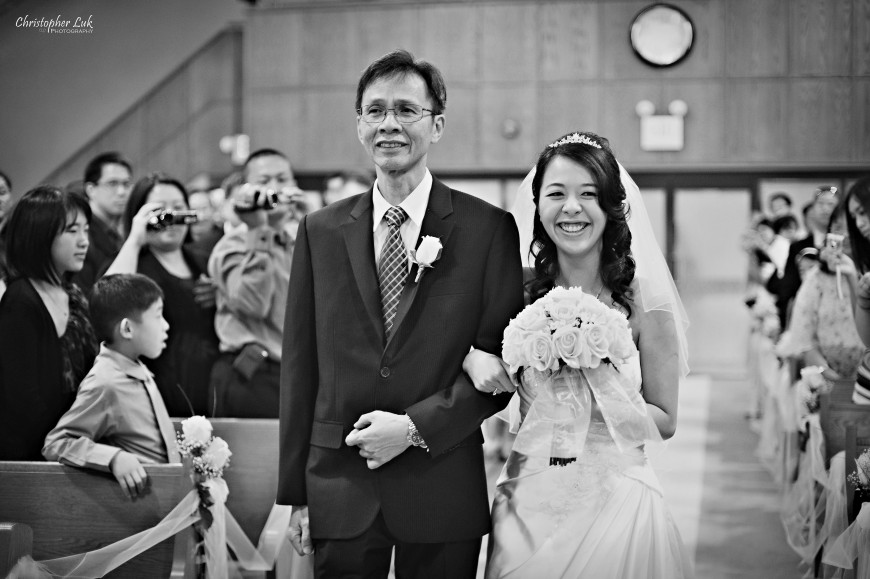 Christopher Luk Wedding 2011 - Karen and Derrick - Cornerstone Chinese Alliance Church Grand Baccus Banquet and Conference Centre Main Street Unionville Palettera Custom Correspondences Markham Scarborough - Father and Bride Walking Down the Aisle Church Ceremony