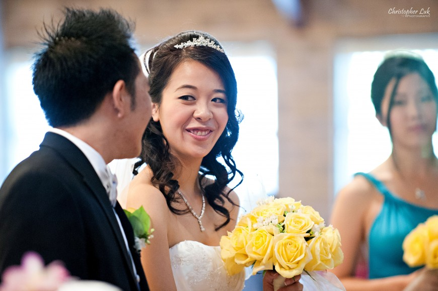 Christopher Luk Wedding 2011 - Karen and Derrick - Cornerstone Chinese Alliance Church Grand Baccus Banquet and Conference Centre Main Street Unionville Palettera Custom Correspondences Markham Scarborough - Bride and Groom Smile During Church Ceremony Candid Photojournalism Documentary