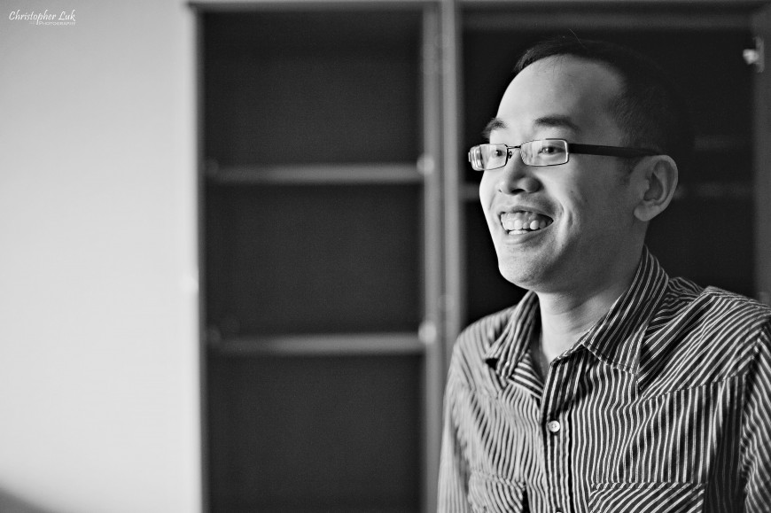 Christopher Luk Wedding 2011 - Lillian and Daniel - Immanuel Baptist Church and Columbus Event Centre Sala Caboto Toronto - Groom Getting Ready Smile