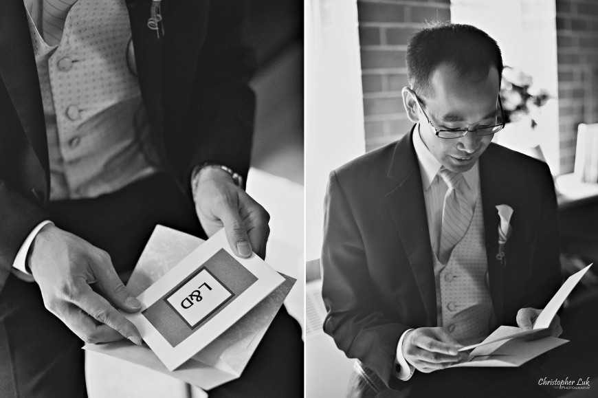 Christopher Luk Wedding 2011 - Lillian and Daniel - Immanuel Baptist Church and Columbus Event Centre Sala Caboto Toronto - Groom Reading Note Message Gift from Bride