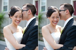 Christopher Luk Wedding 2011 - Lillian and Daniel - Immanuel Baptist Church and Columbus Event Centre Sala Caboto Toronto - Bride and Groom Creative Relaxed Portrait Session Laugh