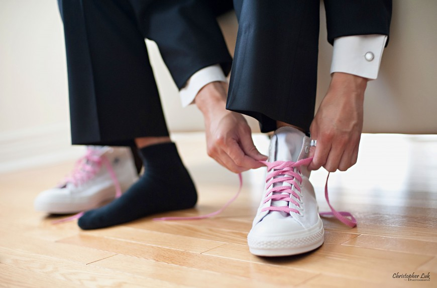 Christopher Luk Wedding 2011 - Toronto Vaughan - Sophia and Johnny - Kleinburg Main Street - Groom with Converse Chuck Taylor All Stars Shoes