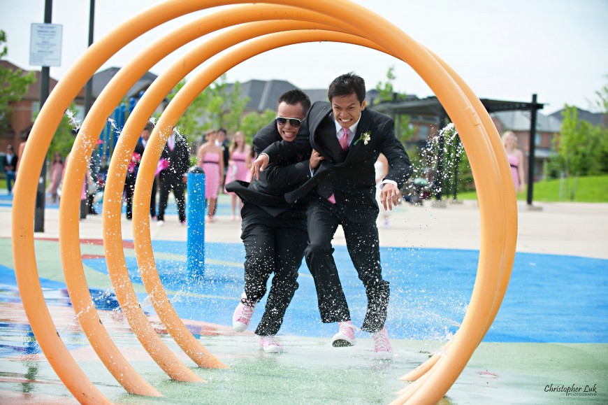Christopher Luk Wedding 2011 - Toronto Vaughan - Sophia and Johnny - Kleinburg Main Street - Playground Water Splash Pad Groomsmen Running Race