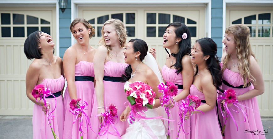 Christopher Luk Wedding 2011 - Toronto Vaughan - Sophia and Johnny - Kleinburg Main Street - Bridal Party Bridesmaids Laughing Candid