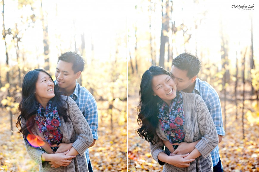Christopher Luk Engagement Session 2011 - Joy and Darrick - Markham Richmond Hill Toronto Wedding Photographer Photography - Hug Kiss Relaxed Portrait Documentary Photojournalism