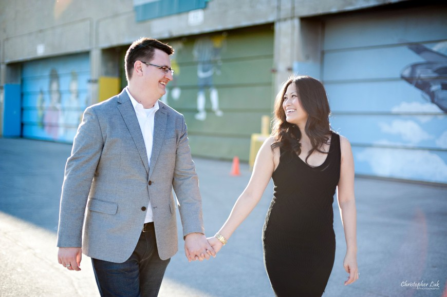Christopher Luk Weddings 2012 - Engagement Session - Cindy and Walter - Northwood Downsview Park Toronto Wedding Photography - Casual Relaxed Creative Portraits - Bride and Groom Walking and Talking Smile Laugh
