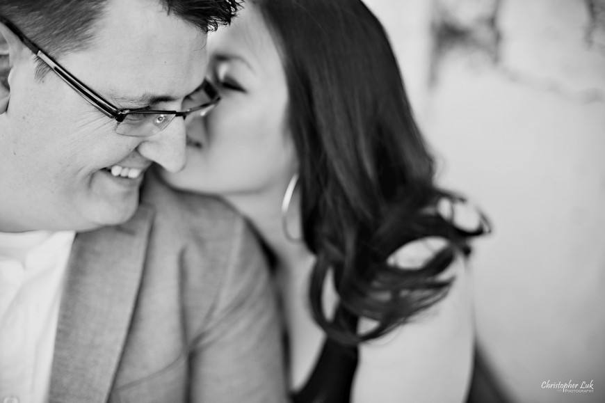 Christopher Luk Weddings 2012 - Engagement Session - Cindy and Walter - Northwood Downsview Park Toronto Wedding Photography - Casual Relaxed Creative Portraits - Bride and Groom Sitting Talk Smile Laugh