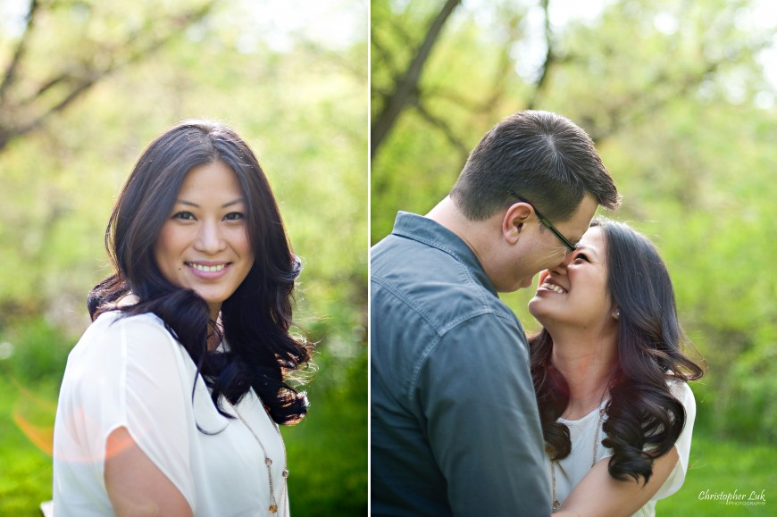 Christopher Luk Weddings 2012 - Engagement Session - Cindy and Walter - Northwood Downsview Park Toronto Wedding Photography - Casual Relaxed Creative Portraits - Headshot Happy Smile About to Kiss