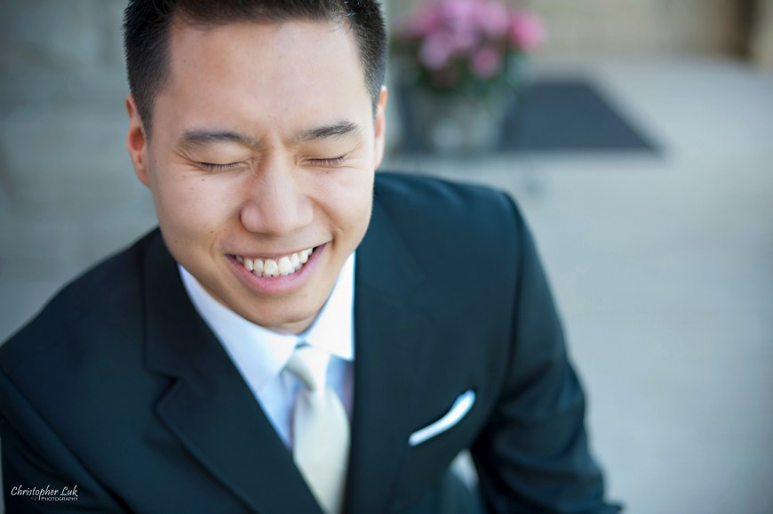 Christopher Luk Wedding 2012 - Joy and Darrick - Yum Kwang Presbyterian Church Toronto The Bellagio Vaughan Ontario - Groom Getting Ready in the Morning Smiling Smile Laugh