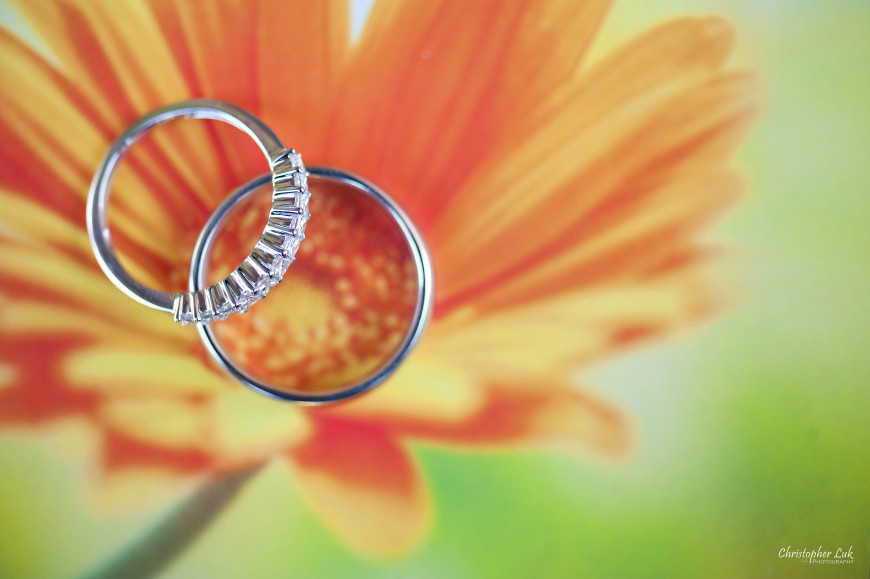 Christopher Luk Wedding 2012 - Joy and Darrick - Yum Kwang Presbyterian Church Toronto The Bellagio Vaughan Ontario - Wedding Rings Ring Band Bands Diamond White Gold Orange Daisy