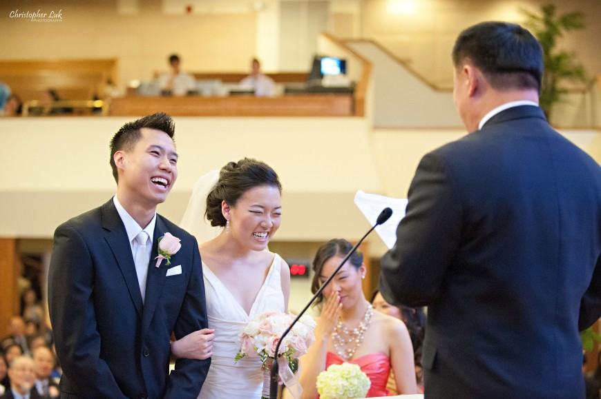 Christopher Luk Wedding 2012 - Joy and Darrick - Yum Kwang Presbyterian Church Toronto The Bellagio Vaughan Ontario - Bride and Groom Altar Ceremony Laughing Laugh Exhortation Sermon Speech Officiant Funny Dad Father