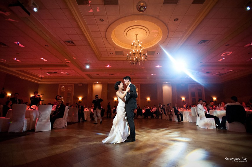 Christopher Luk Wedding 2012 - Joy and Darrick - Yum Kwang Presbyterian Church Toronto The Bellagio Vaughan Ontario - Bride and Groom Dinner Reception First Dance Hug Smile Lighting Music DJ