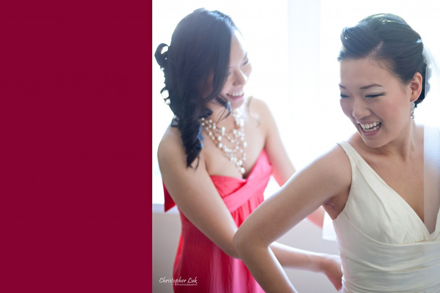 Christopher Luk Wedding 2012 - Joy and Darrick - Yum Kwang Presbyterian Church Toronto The Bellagio Vaughan Ontario - Bride and Bridesmaid Getting Ready Putting on the White Wedding Dress in the Morning