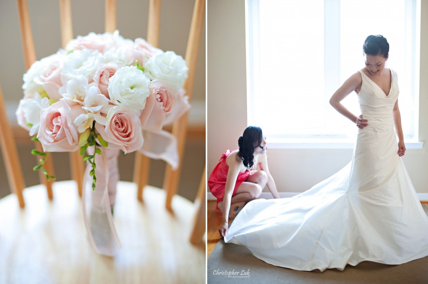 Christopher Luk Wedding 2012 - Joy and Darrick - Yum Kwang Presbyterian Church Toronto The Bellagio Vaughan Ontario - Bride and Bridesmaid Getting Ready Putting on the White Wedding Dress in the Morning Flower Bouquet