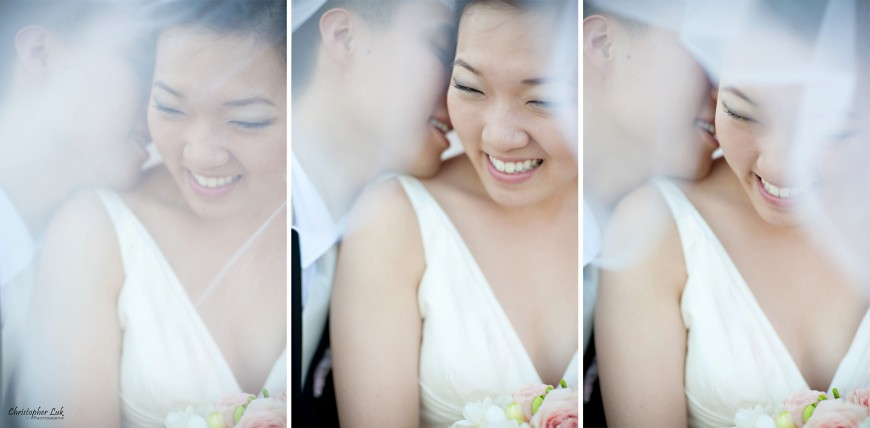 Christopher Luk Wedding 2012 - Joy and Darrick - Yum Kwang Presbyterian Church Toronto The Bellagio Vaughan Ontario - Bride and Groom Smile Laugh Veil Triptych