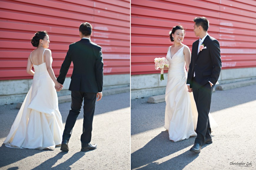 Christopher Luk Wedding 2012 - Joy and Darrick - Yum Kwang Presbyterian Church Toronto The Bellagio Vaughan Ontario - Bride and Groom Walking Urban Candid Relaxed Natural Portraits Red