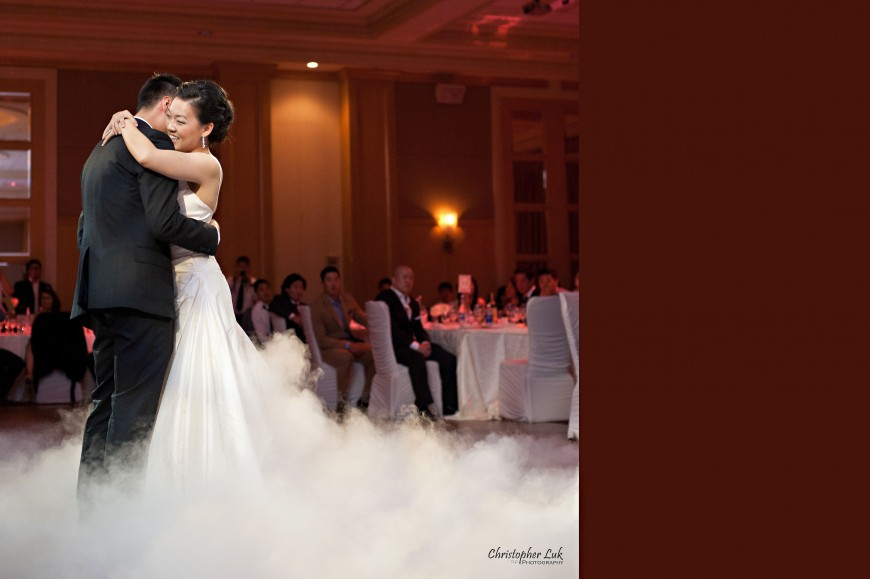 Christopher Luk Wedding 2012 - Joy and Darrick - Yum Kwang Presbyterian Church Toronto The Bellagio Vaughan Ontario - Bride and Groom First Dance Dinner Reception Hug Smile