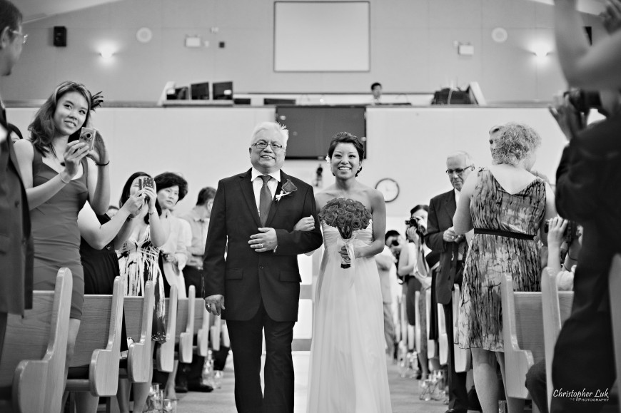 Christopher Luk 2012 - Erin and Brian's Wedding - Toronto Korean Presbyterian Church Bayview Golf and Country Club - Toronto Lifestyle Wedding Photographer - Bride Walking Down the Aisle with Father