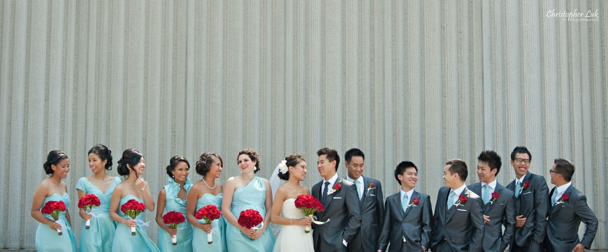 Christopher Luk 2012 - Erin and Brian's Wedding - Toronto Korean Presbyterian Church Bayview Golf and Country Club - Toronto Lifestyle Wedding Photographer - Bride and Groom Bridal Party Group Blue Red Colour Theme Palette