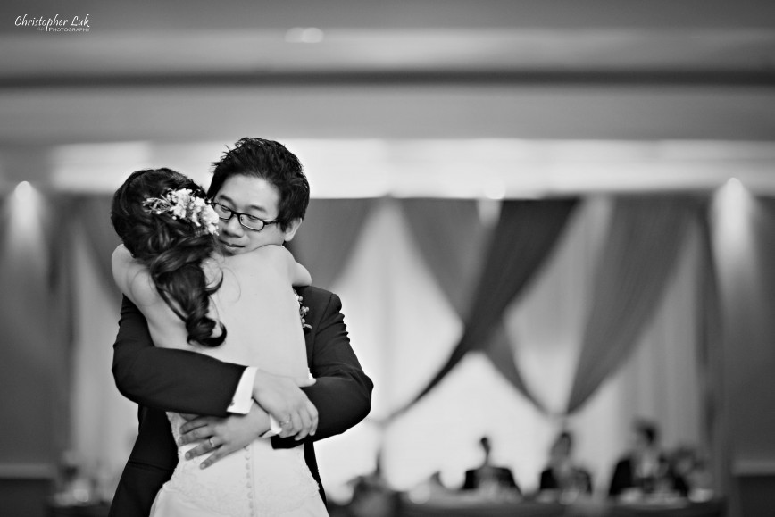 Christopher Luk 2012 - Theresa and Ryan's Wedding - Toronto Centre for Performing Arts Life-Spring Christian Fellowship Destiny Banquet Hall - Bride and Groom First Dance Black and White