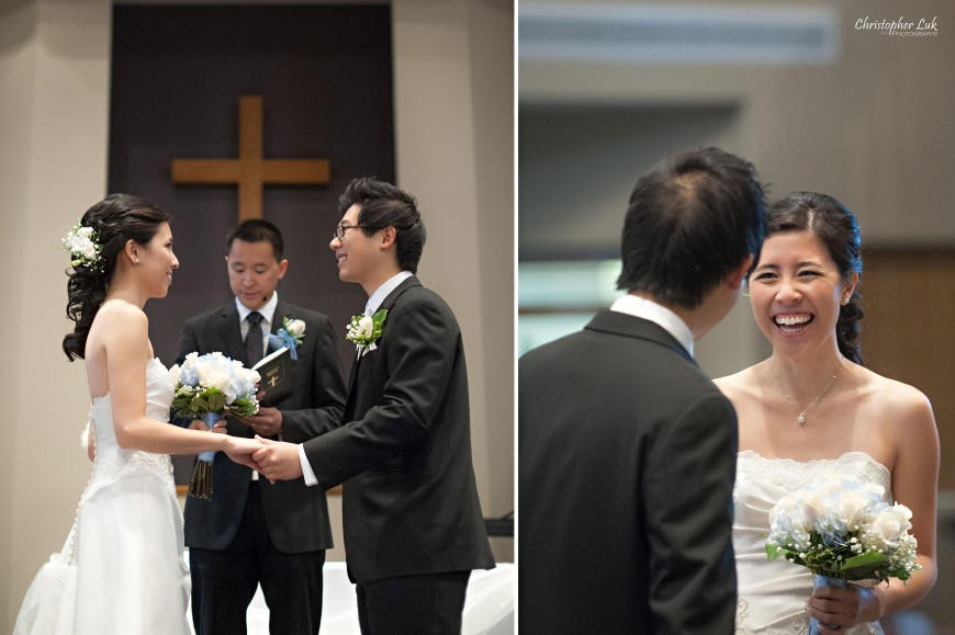 Christopher Luk 2012 - Theresa and Ryan's Wedding - Toronto Centre for Performing Arts Life-Spring Christian Fellowship Destiny Banquet Hall - Bride and Groom Church Ceremony Vows Holding Hands Laugh Smile