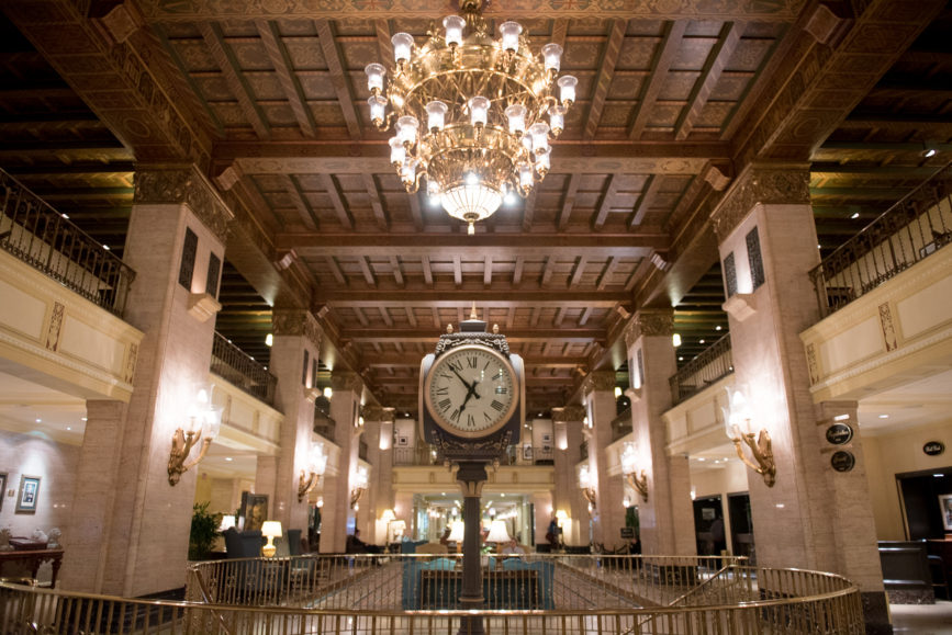 ORBA 2016 Ontario Road Builders Association Annual General Meeting Convention Expo Infrastructure Transportation Fairmont Royal York Hotel Toronto Conference Event Photographer - Lobby Chandeliers Seating Wooden Beam Ceiling Concierge Great Clock
