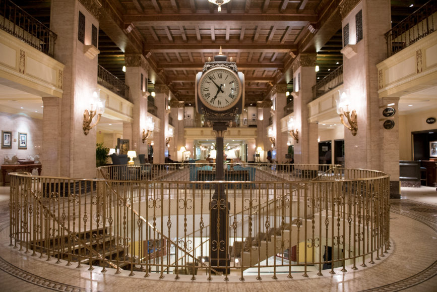 ORBA 2016 Ontario Road Builders Association Annual General Meeting Convention Expo Infrastructure Transportation Fairmont Royal York Hotel Toronto Conference Event Photographer - Lobby Chandeliers Seating Wooden Beam Ceiling Concierge Great Clock Spiral Staircase