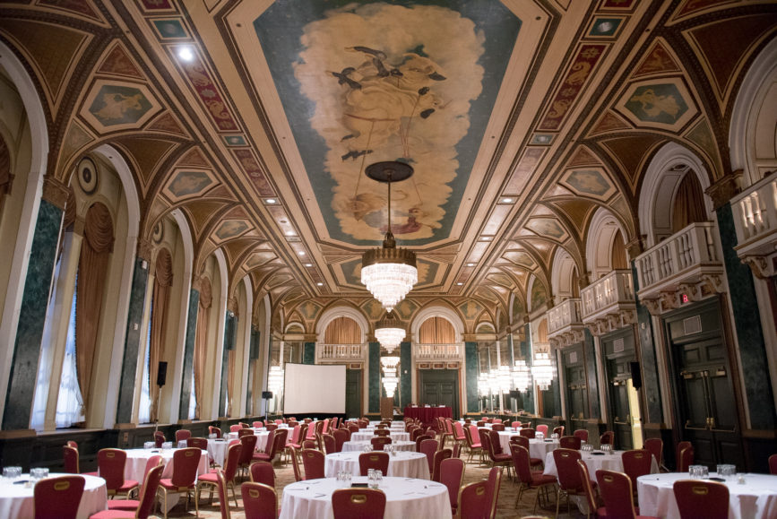 ORBA 2016 Ontario Road Builders Association Annual General Meeting Convention Expo Infrastructure Transportation Fairmont Royal York Hotel Toronto Conference Event Photographer - Chandeliers Chairs Tables Ballroom