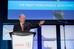 ORBA 2016 Ontario Road Builders Association Annual General Meeting Convention Expo Infrastructure Transportation Fairmont Royal York Hotel Toronto Conference Event Photographer - Canadian Room Keynote Speaker Speech Prime Minister Canada Right Honourable Jean Chretien Hand