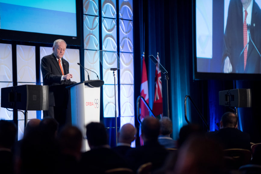 ORBA 2016 Ontario Road Builders Association Annual General Meeting Convention Expo Infrastructure Transportation Fairmont Royal York Hotel Toronto Conference Event Photographer - Canadian Room Keynote Speaker Speech Prime Minister Canada Right Honourable Jean Chretien Medium Crowd Side Angle