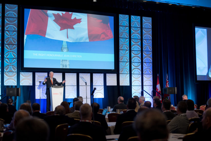 ORBA 2016 Ontario Road Builders Association Annual General Meeting Convention Expo Infrastructure Transportation Fairmont Royal York Hotel Toronto Conference Event Photographer - Canadian Room Keynote Speaker Speech Prime Minister Canada Right Honourable Jean Chretien Medium Crowd