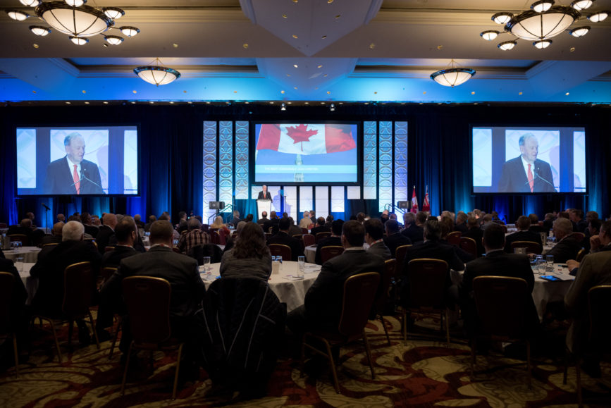 ORBA 2016 Ontario Road Builders Association Annual General Meeting Convention Expo Infrastructure Transportation Fairmont Royal York Hotel Toronto Conference Event Photographer - Canadian Room Keynote Speaker Speech Prime Minister Canada Right Honourable Jean Chretien Medium Crowd Centre Crowd Wide
