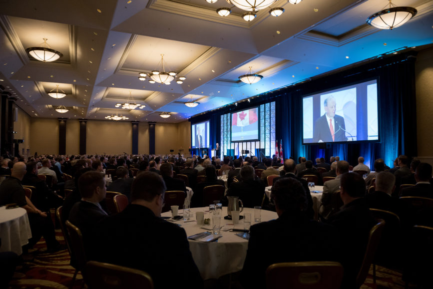 ORBA 2016 Ontario Road Builders Association Annual General Meeting Convention Expo Infrastructure Transportation Fairmont Royal York Hotel Toronto Conference Event Photographer - Canadian Room Keynote Speaker Speech Prime Minister Canada Right Honourable Jean Chretien Crowd Wide Angle