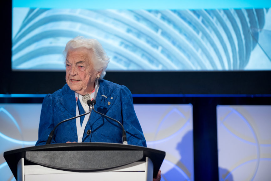 ORBA 2016 Ontario Road Builders Association Annual General Meeting Convention Expo Infrastructure Transportation Fairmont Royal York Hotel Toronto Conference Event Photographer - Canadian Room Keynote Speaker Speech Address Hurricane Hazel McCallion Close