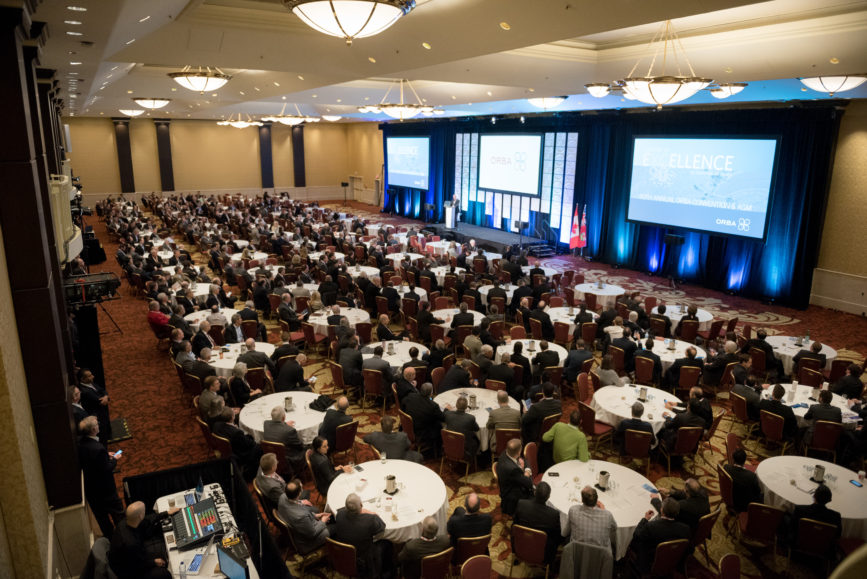 ORBA 2016 Ontario Road Builders Association Annual General Meeting Convention Expo Infrastructure Transportation Fairmont Royal York Hotel Toronto Conference Event Photographer - Canadian Room Keynote Speaker Speech Tables Chairs Balcony Wide Angle