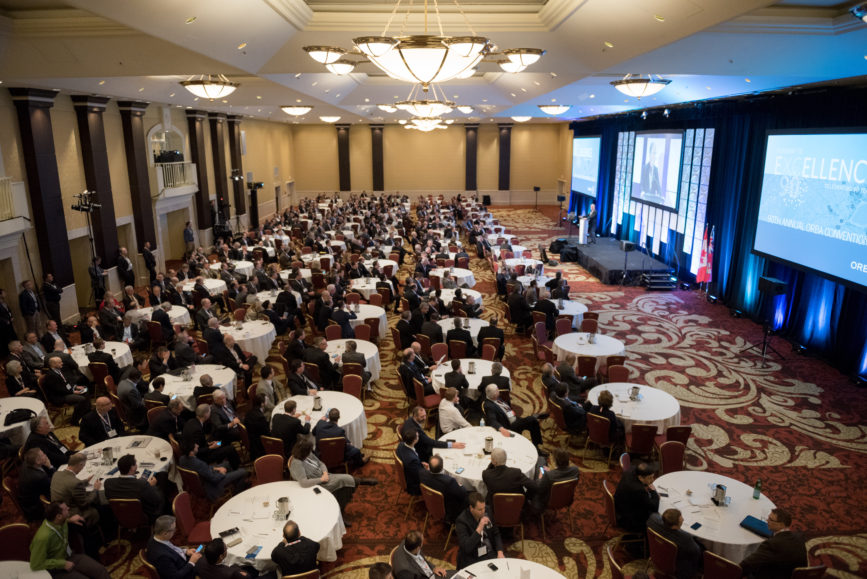 ORBA 2016 Ontario Road Builders Association Annual General Meeting Convention Expo Infrastructure Transportation Fairmont Royal York Hotel Toronto Conference Event Photographer - Canadian Room Keynote Speaker Speech Tables Chairs Balcony Wide Centre