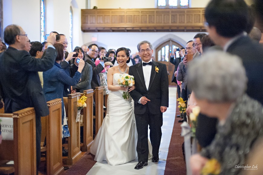 Christopher Luk 2013 - Emily and Ken's Spring Wedding - Glenview Presbyterian Church and Chateau Le Jardin Conference & Event Centre Venue - Toronto Wedding Portrait Lifestyle Photographer - Ceremony Father and Bride Walking Down Aisle Together Happy Smile Tears of Joy Processional
