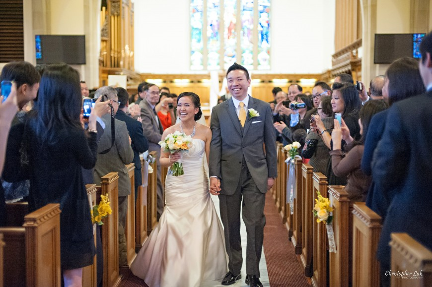 Christopher Luk 2013 - Emily and Ken's Spring Wedding - Glenview Presbyterian Church and Chateau Le Jardin Conference & Event Centre Venue - Toronto Wedding Portrait Lifestyle Photographer - Ceremony Groom and Bride Walking Up Aisle Together Happy Smile Recessional