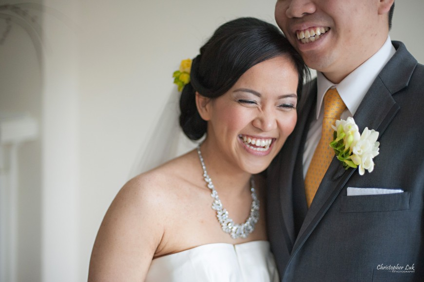 Christopher Luk 2013 - Emily and Ken's Spring Wedding - Glenview Presbyterian Church and Chateau Le Jardin Conference & Event Centre Venue - Toronto Wedding Portrait Lifestyle Photographer - Bride and Groom Creative Relaxed Portrait Session Smile Laugh Hug Candid